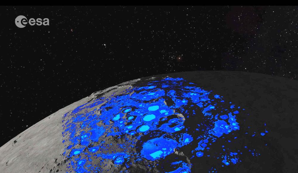 Lunar north pole water percentage - ESA