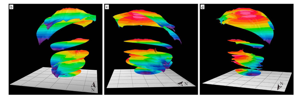 3D model of Korolev crater built from radar results from MRO's SHARAD instrument. The distance from the top to the estimated bottom is about 1.8 km. - Credit: Brothers et al., Figure 4, 2016