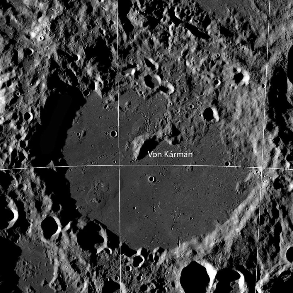 The CNSA Chang'e 4 landed in the Von Kármán crater within the South Pole-Atiken basin on the far side of the Moon. The crater is 186 km in diameter. The southern portion is covered in mare basalt flows. Although it looks smooth, it is heavily pitted with small crater impacts. Credit: NASA/GSFC/Arizona State University