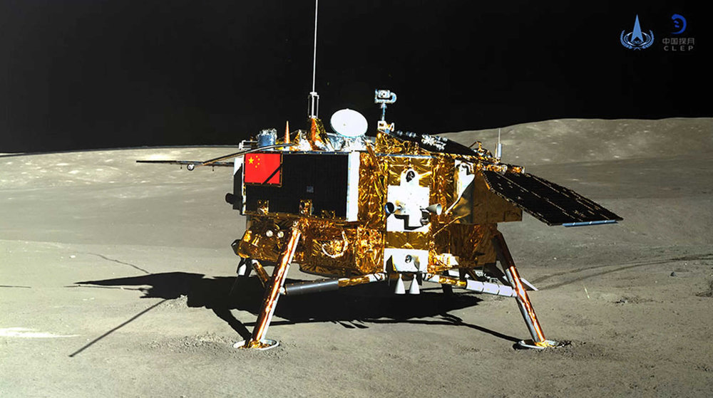 The China National Space Administration (CNSA) is the first group in the world to land a spacecraft on the far side of the Moon. The lander, Chang'e 4, is now collecting valuable science in Von Kármán crater within the South Pole-Aitken basin. Credit: CNSA