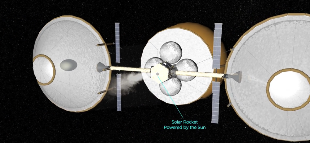 The Honey Bee system propelling itself through space using its Omnivore solar thruster, powered by concentrated sunlight with extracted volatiles for propellant. Credit: TransAstra Corporation