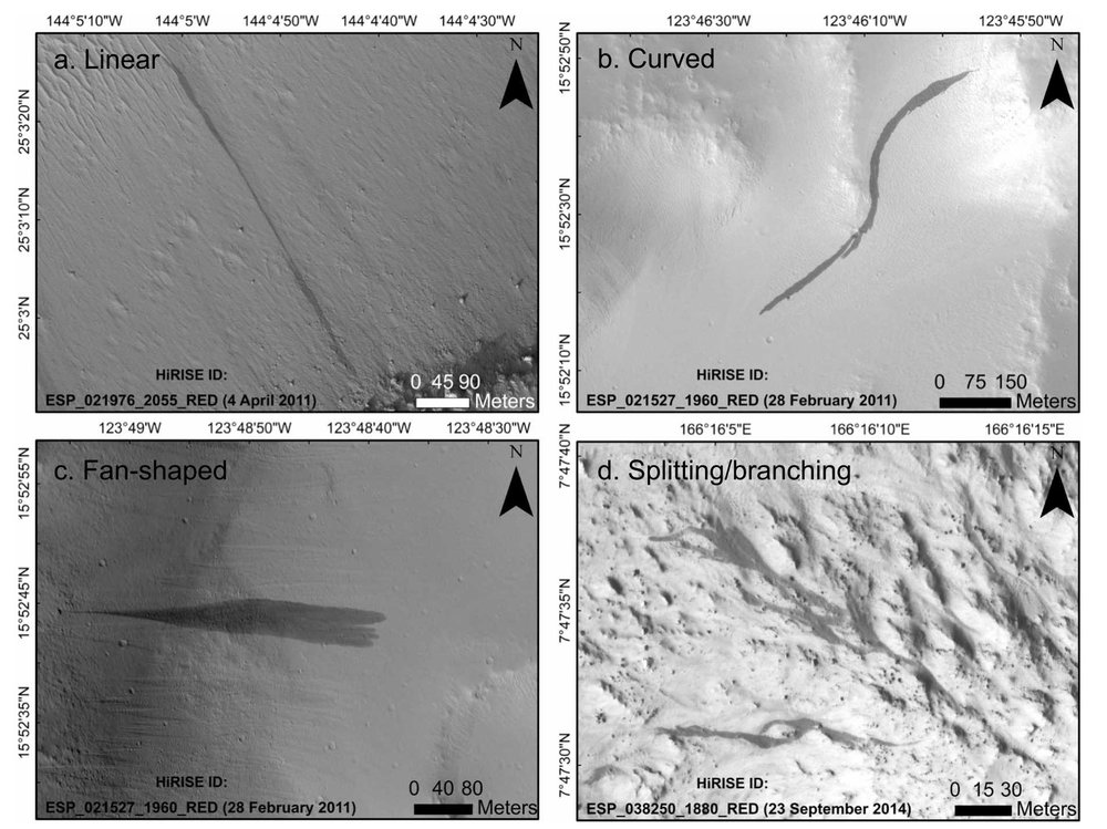 Some of the most commonly observed slope streaks on Mars. (a) Linear, (b) curved, (c) fan-shaped, (d) splitting/branching. Captured from the HiRISE instrument on the Mars Reconnaissance Orbiter. Credit: Bhardwaj et al. (2019), Figure 4
