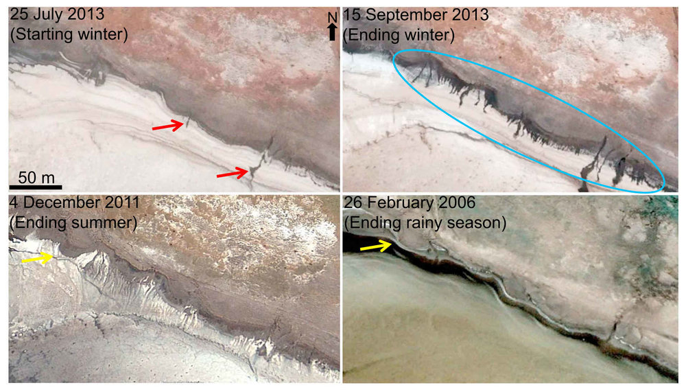 Terrestrial slope streaks analog using the Salar de Uyuni in the Altiplano of Bolivia. Similar slope streaks were observed in satellite imagery during the winter (dry) months. The streaks were caused by an aqueous brine. Credit: Bhardwaj et al. (2019), Figure 14