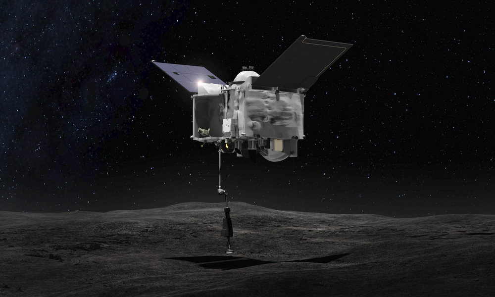 Artist's concept showing the NASA OSIRIS-REx spacecraft making contact with the asteroid Bennu. This touch and go maneuver will collect a sample of the asteroid regolith and return it to Earth for analysis. Credit: NASA/Goddard Space Flight