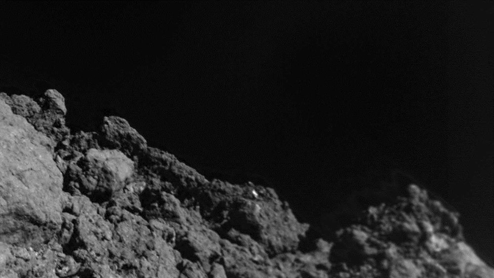 Surface of Ryugu taken from the MASCOT lander a few meters before touchdown. In-situ analysis of asteroids allows direct observations of regolith characteristics and inner structure analysis. Credit: MASCOT/DLR/JAXA.