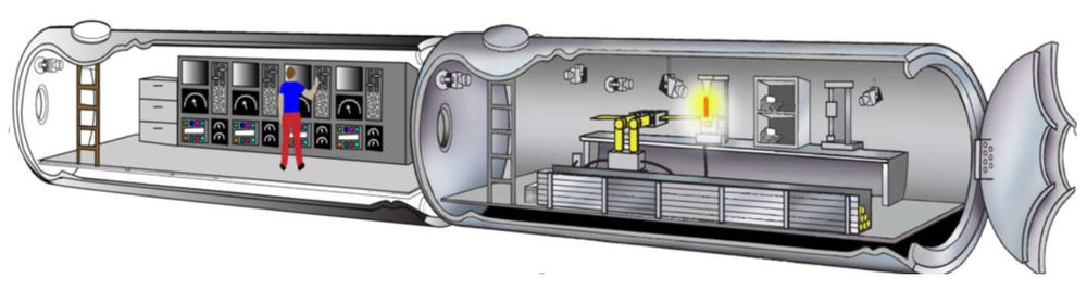 Cylindrical human habitat design that uses an advanced composite structure for providing strength and protection while meeting mass and size limits of existing launch vehicles. Credit: Gowda et al., 2019, Figure 1.