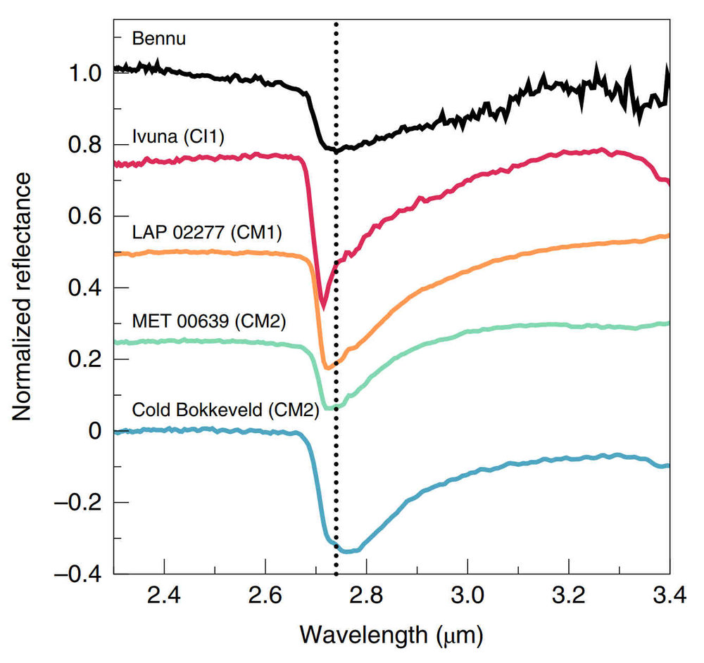 Infrared spectra across the entirety of Bennu has a band at 2.74 microns. This aligns with other CM and CI asteroids. This also indicates the presences of hydrated minerals on the surface of Bennu. The spectra on this chart are offset vertically to maintain clarity. Credit: Hamilton et al., 2019, Figure 2.