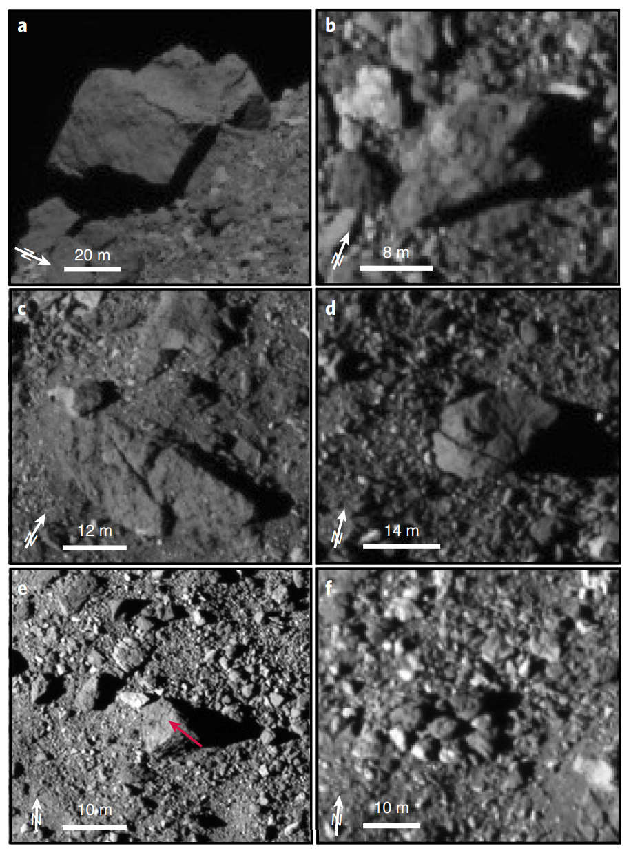 The surface of Bennu contains many large boulders. One large boulder (a) has a diameter of about 56 m and a height over the surrounding area of 20 m. These boulders will be a hazard for OSIRIS-REx's sample collection landing. Similar features were also seen on asteroid Ryugu and Itokawa. Credit: Walsh et al., 2019, Figure 1.