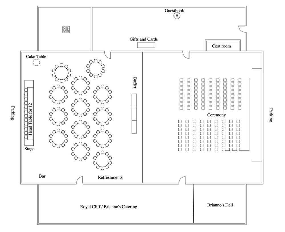 WEDDING ROOM LAYOUT FOR 150, INCLUDING CEREMONY