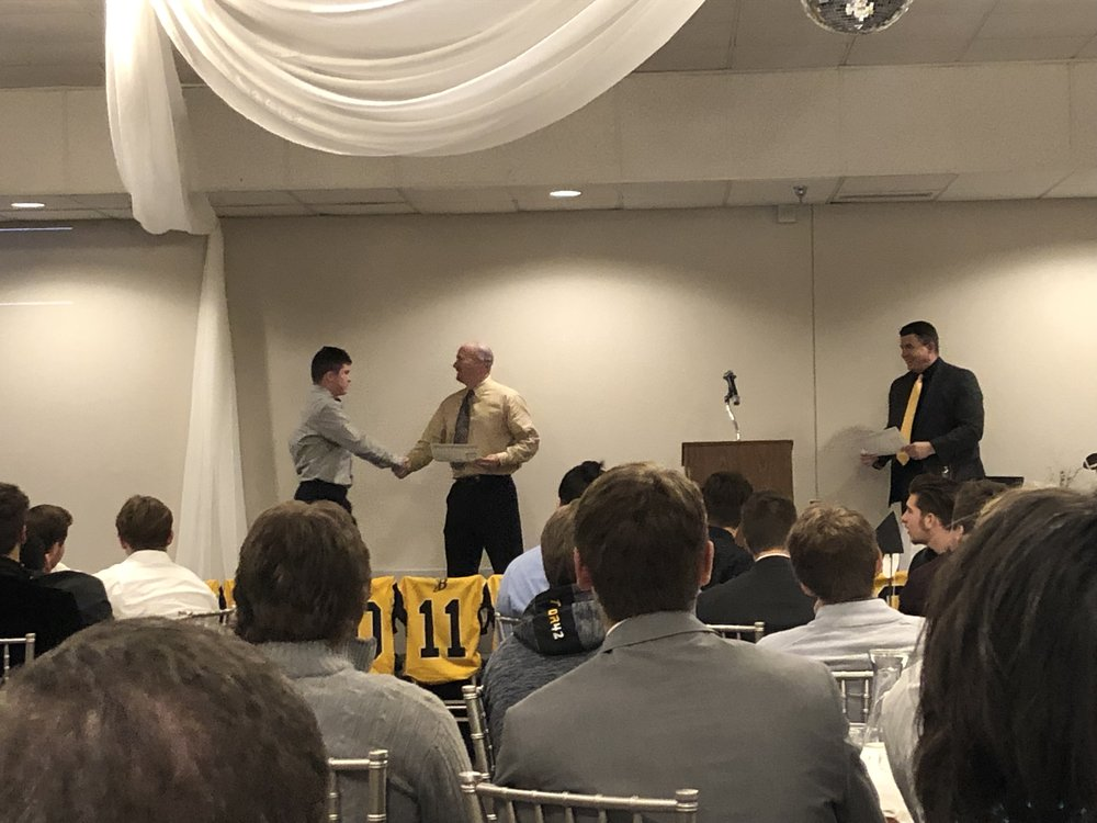 High School Banquet Hall in Eagan for sports award ceremony | Burnsville High School Football | handing out awards