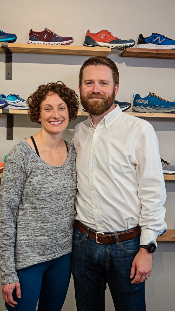 """JESS & COLIN REIDLex Running Shop - """"Being connected to a local running shop is being connected to a community of people. That's why it's so important this shop exudes a feeling of that idea—this is not just a place to get your gear and leave. You come in, you chat about the race, you have a cup of coffee. It's an experience."""""""