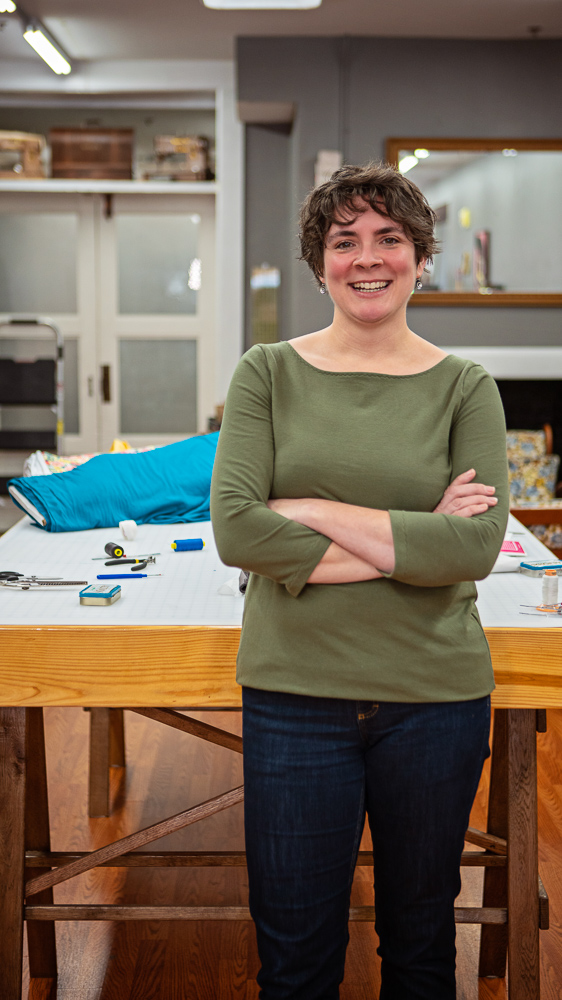 """Accacia MullenMake it Sew - """"We had a few dozen people in here yesterday doing a charity sewing project, which was awesome. That's why I'm doing this—to get people involved, make cool stuff, get sewing."""""""