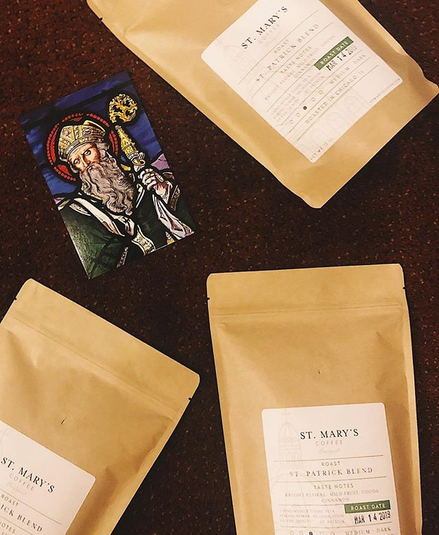 Getting ready for St. Patrick! ☘️☕️ Online orders closed, but available for purchase after all masses this weekend (St. Mary of Perpetual Help in Bridgeport). #stmaryscoffee #stpatricksday #stpatrick #saintpatricksday