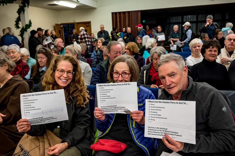 Bearing witness. Vashon's only road. Thanks to the 260 Vashonites who showed up! (Photos by John de Groen, and thanks John!)
