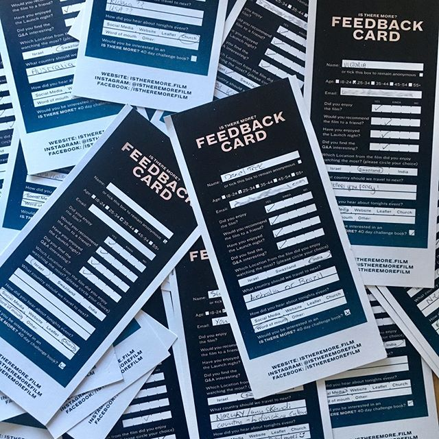 We've received lots of feedback cards following launch night, we've really enjoyed working through these and reading all your thoughts - So good! ⠀ ⠀ #documentary #istheremore #creative #feedback #teamwork #thoughts #positive #istheremorefilm