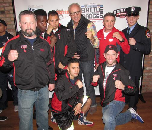 Coaches Jerry Ryan (left), Mike Reno (right kneeling), Bobby McGuire (2nd from right) with Gerry Cooney (center). Duane Richardson, Jonathan Velasquez, Andrew Tanzi, and Matt Restrepo