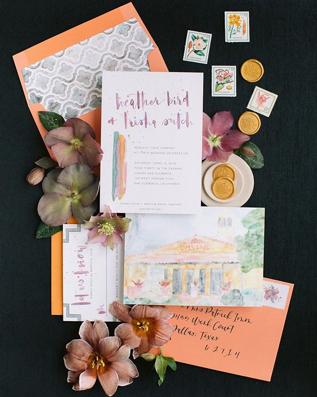 """We are SO in love with our final stationary suite designed by the one and the only @lazycreativedesigns ! We are also excited to share that we have BOTH been nominated for #californiaweddingdaybestof2019 ! Voting ends tomorrow! We would love your support! Link in bio :) When @k.sageevents started to design this Wedding, we wanted to include a BRIGHT, and contemporary feel with """"old california"""" vibes. We took many elements from the beautiful venue @thecasinosc ,and then added personal touches that Trisha and Heather loved (like bougainvillea + hand calligraphy)! The finished product is truly one-of-a-kind, and a suite that will ALWAYS stay in our hearts!  Thank you to the team that made this flat-lay photo-sesh come together, yesterday! 🙌🏻 Coordinator + Designer 