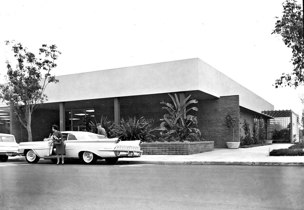 Downey City Library outside Downey Historical Society undated edit.jpg