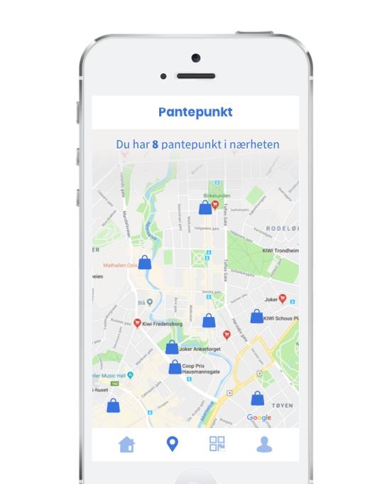 """Bilde av mobil som viser kart over punkter hvor du kan leie pantepose.. Punktene har ett ikon som en pose i blått. Rundt er landskapet i grønt, gult og grått. Øverst på mobilen står det """"Pantepunkt"""" og """"Du har 8 pantepunkt i nœrheten"""". PS! Vi jobber med å få denne funksjonen inn på nettsiden vår. Vi vil informere på sidene våre når de er tilgjengelig""""."""