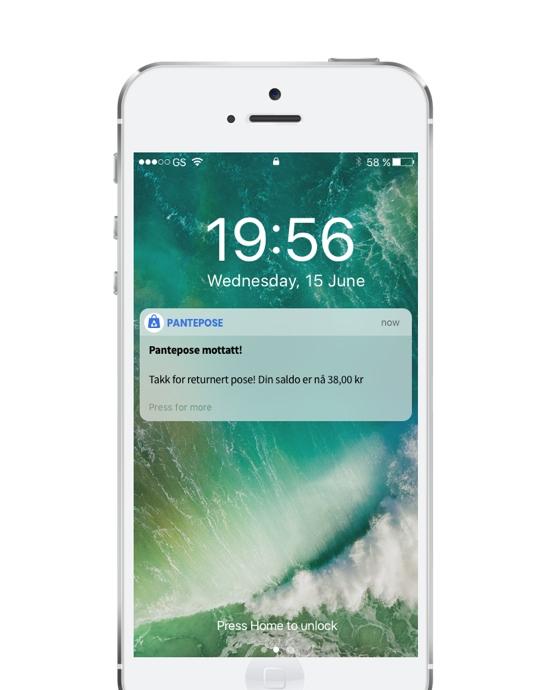 Bilde av en Iphone som har fått varsel om at pantepose er mottat og en melding som sier takk for returnert pose! Din saldo er nå 38, 00kr. Bakgrunnsbilde av en bølge som svuper.