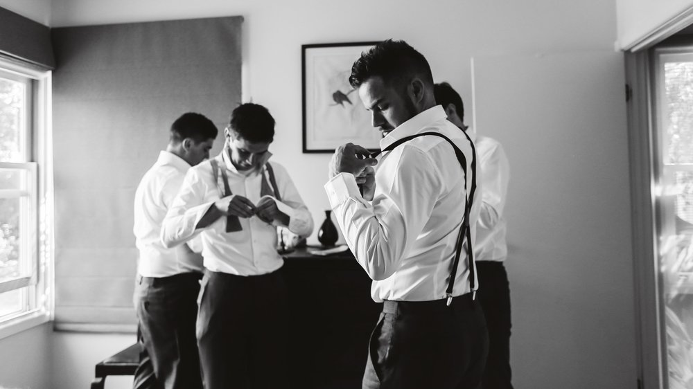 Groomsmen getting ready for the wedding day in dromana