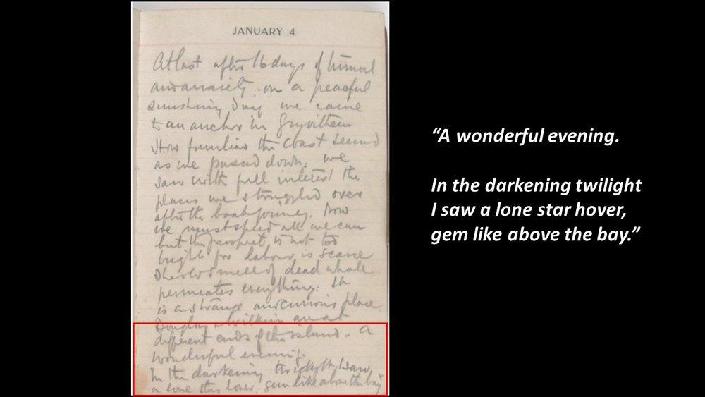Page from Sir Ernest Shackleton's log book, courtesy Scott Polar Institute.