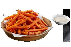 KUMARA FRIES - Sweet potato chips with tangy ranch sauce