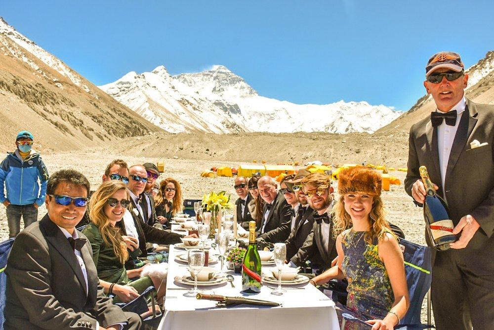 World's highest dinner party - In May 2018 seasoned adventure Neil Laughton held the World's Highest Dinner Party in the 'death zone' on the Nepalese face of Mount Everest.