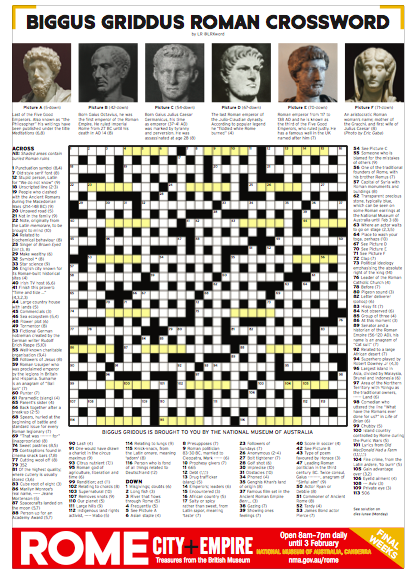 """LR, the Museum LOVES your crossword"" - ""Our media head just sent out the link… to the whole Museum. Everyone's delighted and really chuffed! Well done."""
