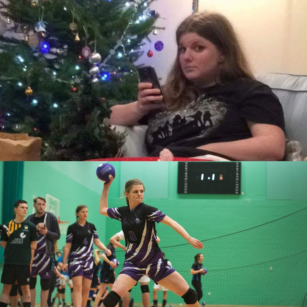 December 2015 vs December 2018-  The best outcome from my weight-loss is undoubtedly my boundless energy which I have been channelling into Dodgeball for the past two years. It is wonderful stress relief and very empowering. I train twice a week and compete most weekends for my local team, Derby Phantoms.