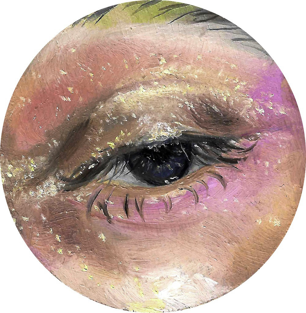 2017 - 'Lover's Eye Miniature' oil on wood, 6 x 6 cm, 2017