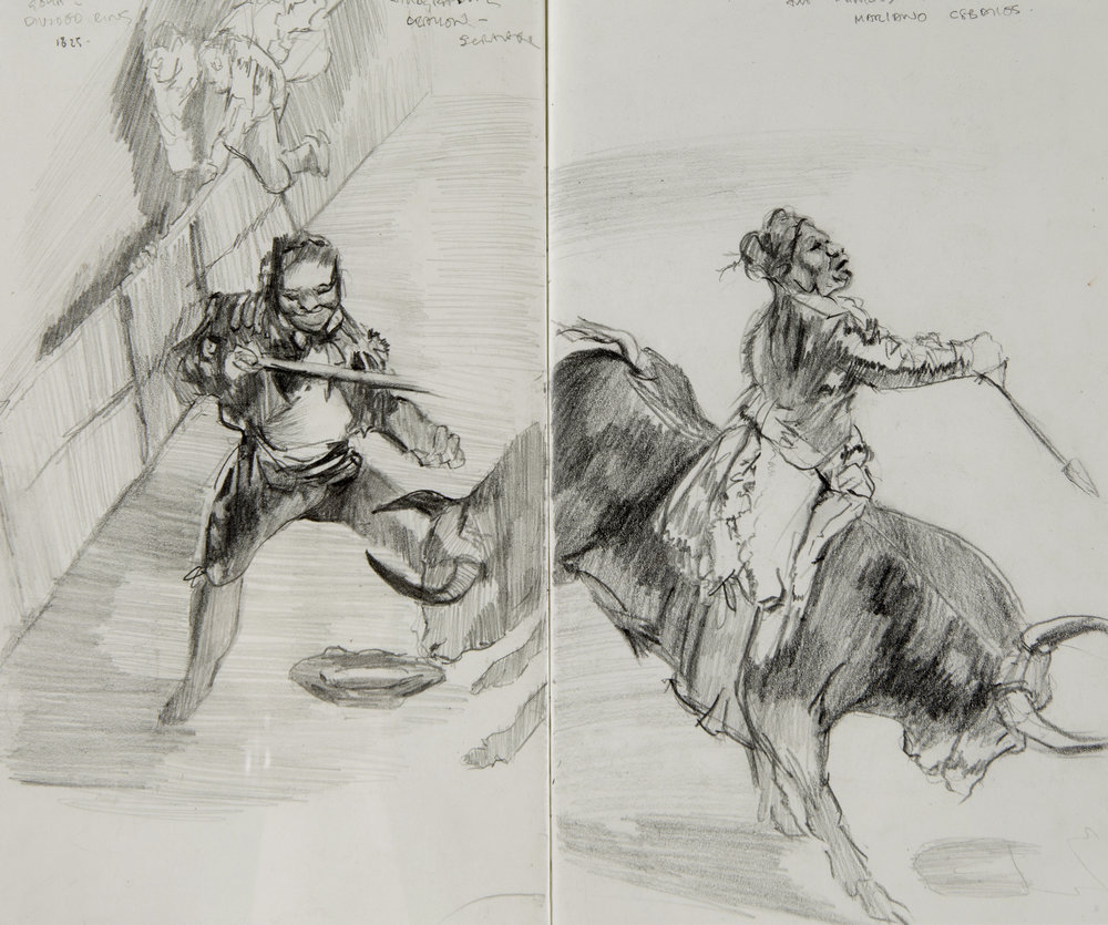 Sketchbook studies after 'La Tauromaquia,' 1816, Francisco de Goya