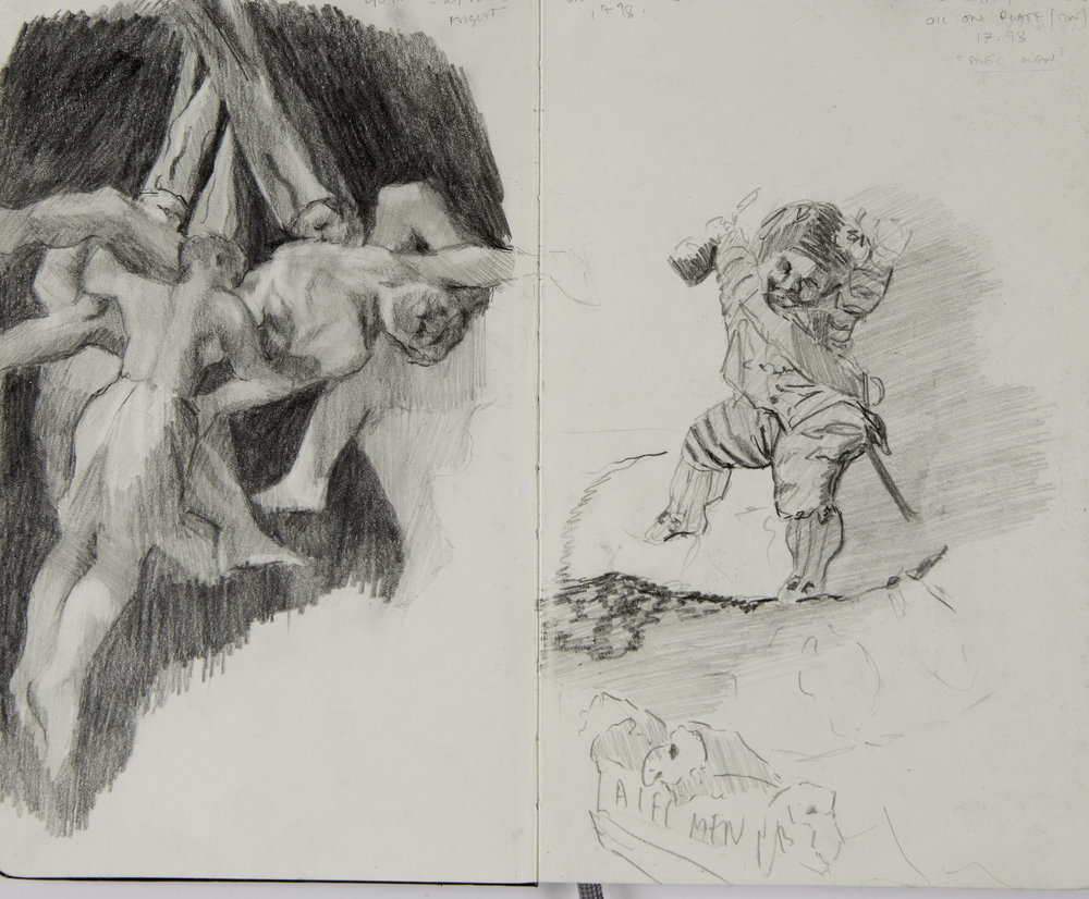 Sketchbook  studies, after 'Witches Flight,' 1798, 'Strolling Players Art Musique,' Francisco de Goya