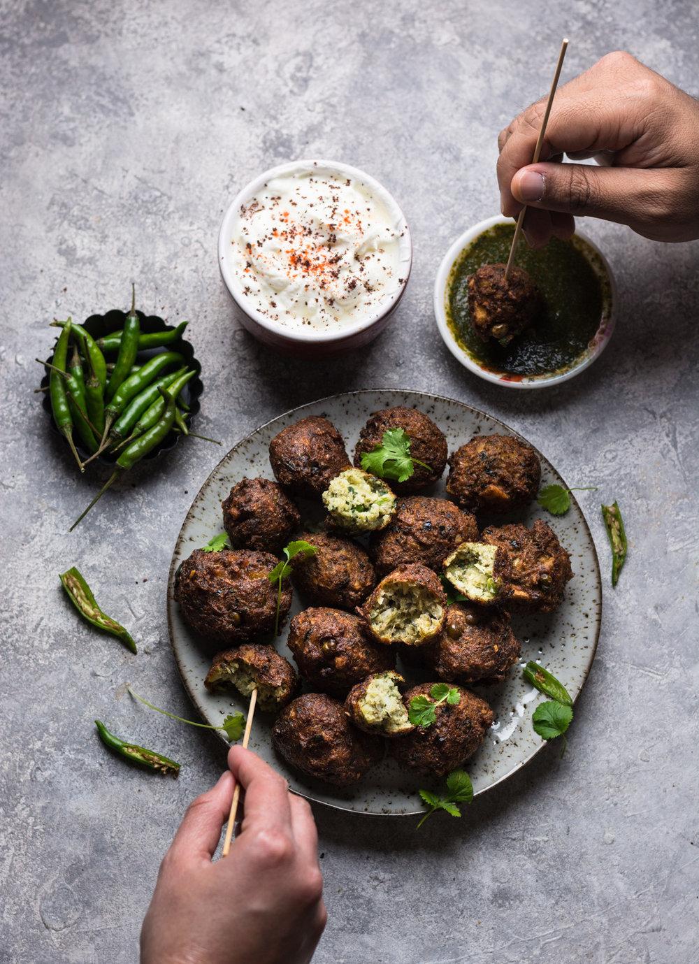 Mung beans fritters/falafels aka 'Mongode' with smoked paprika coriander chutney and sumac yoghurt -