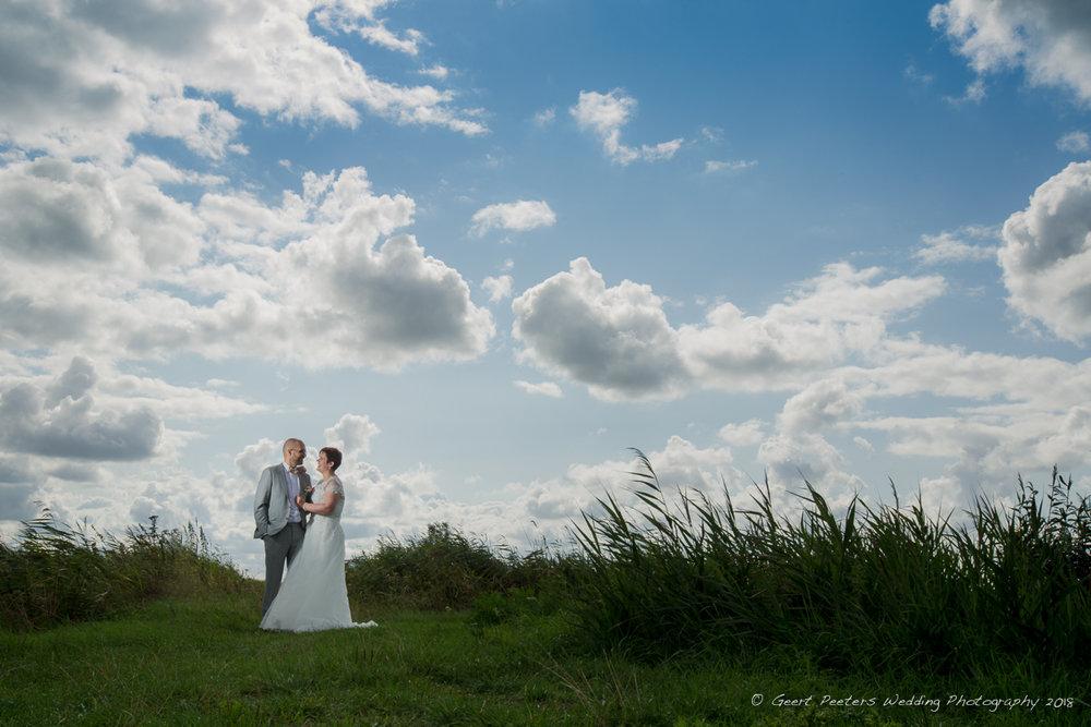 de grote stove Zuienkerke trouw shoot bruid en bruidegom foto