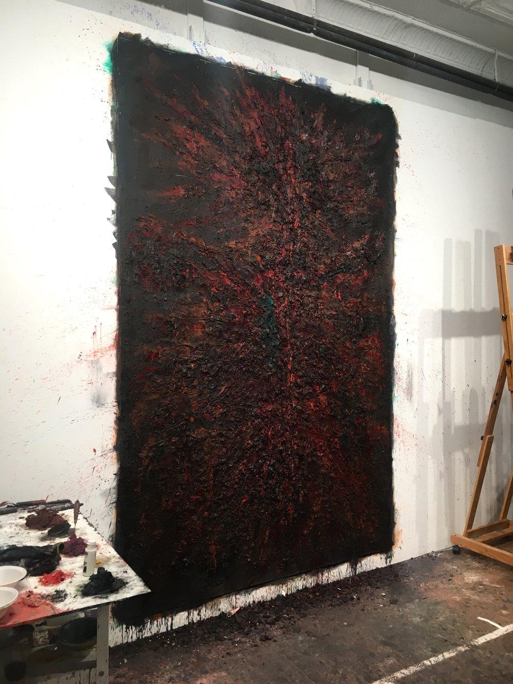 Caldera, 2018 oil on paper, 108 x 72 in.