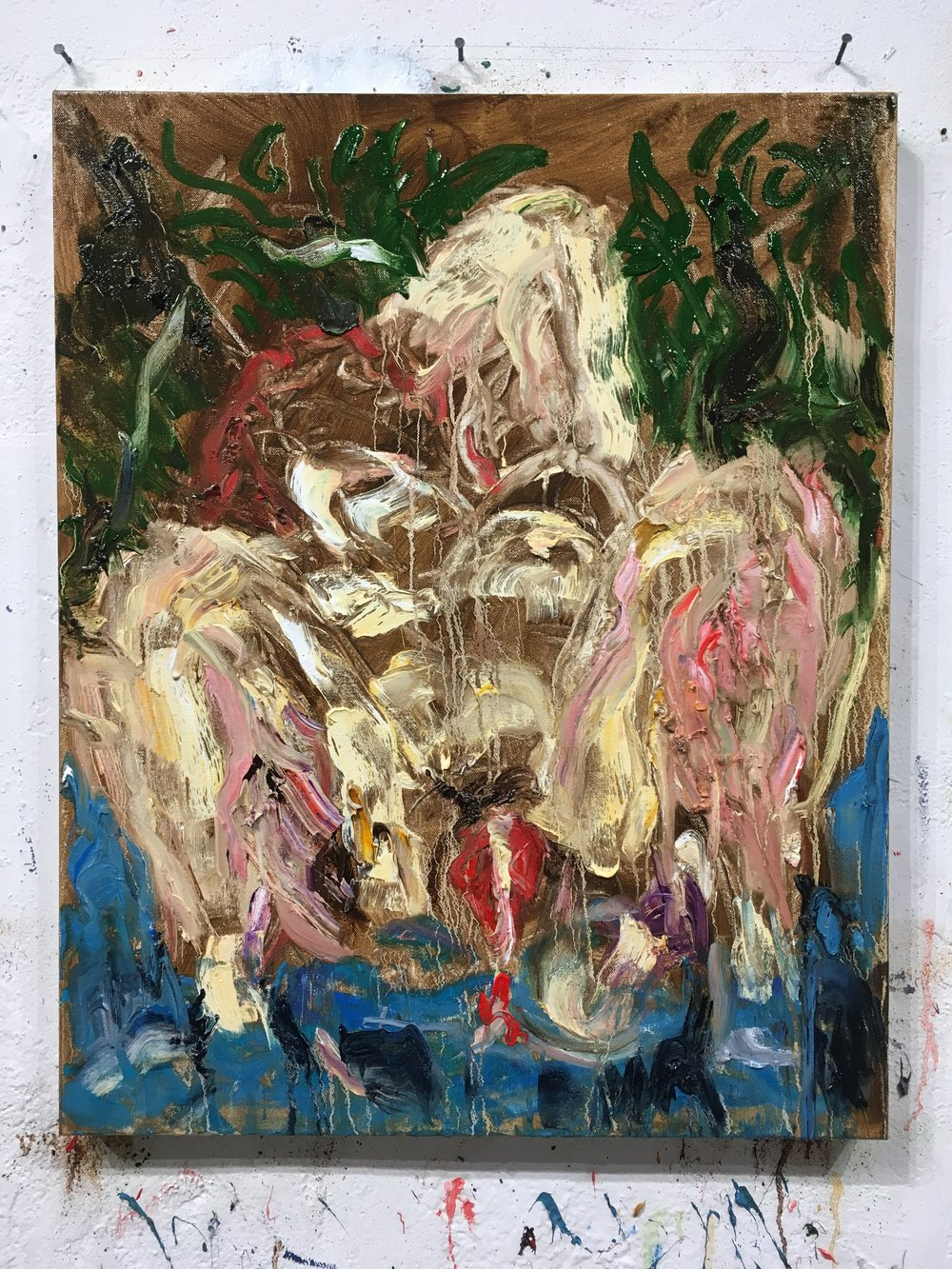 """Untitled, 2016 Oil on canvas, 30 x 24 in.  A painting from a series that may be, well, problematic considering the times we are in. When a friend saw this he said, """"I would keep it in the rack. Wrapped."""" When my wife first saw it she said, """"I don't know. You're a straight guy. I think if these were painted by a woman they wouldn't be, well, hmm, you know?"""""""
