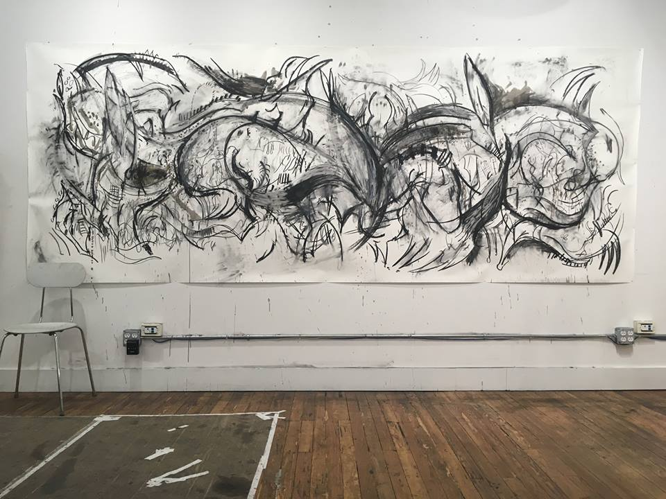 Untitled, 2017 charcoal and ink on paper, 48 x 105 in.