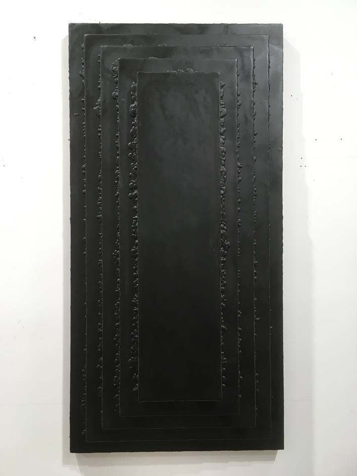 Untitled, 2016 encaustic on wood, 48 x 24 x 10 in.