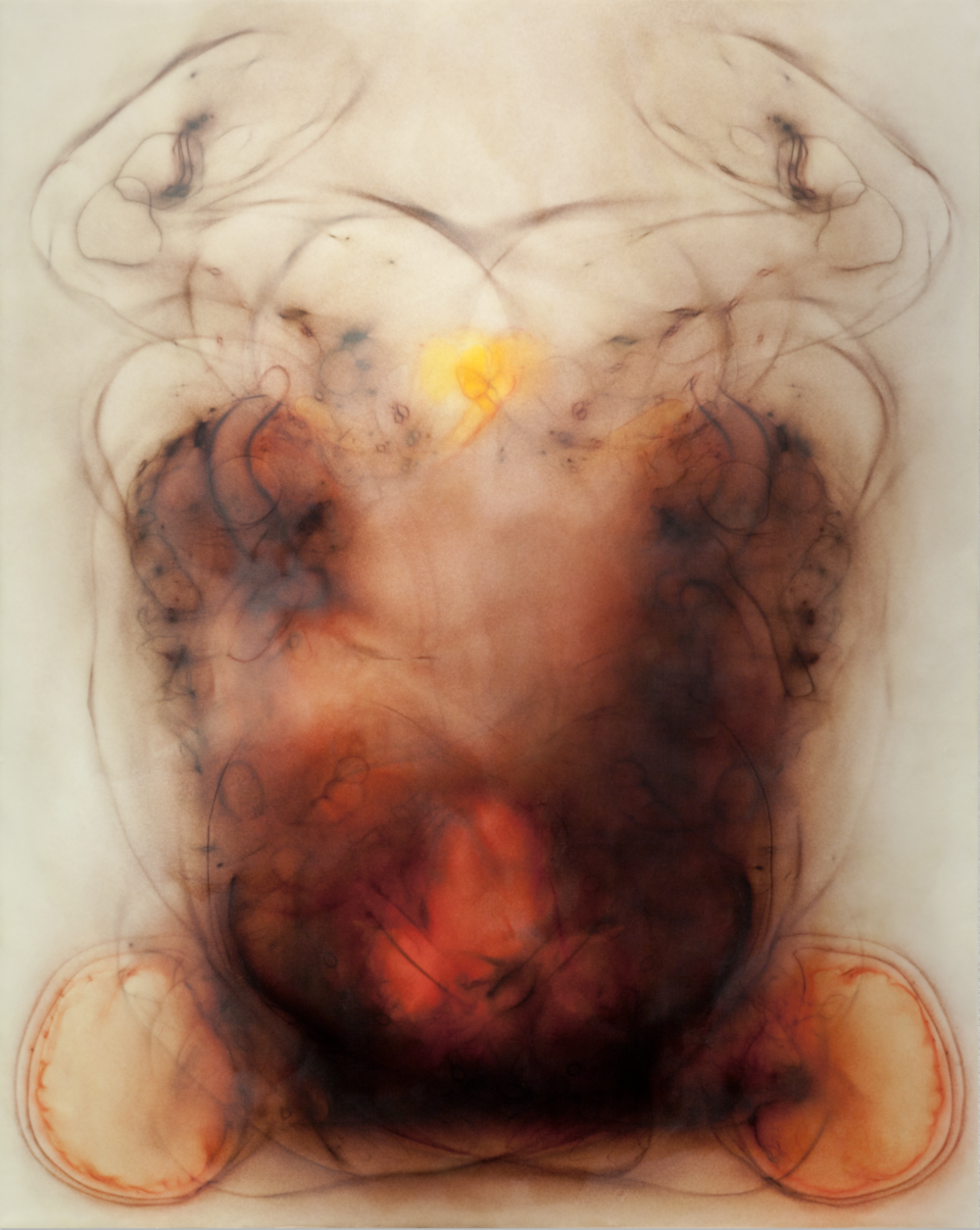 Divine Discontent, 2013 silk and encaustic on panel, 60 x 48 in.