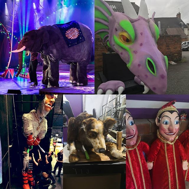 It's #worldpuppetryday so here are a few selected shots of our last few puppets. From big to small they bring us a lot of joy. #puppets #puppetry #puppetmechanism #puppetmaker #puppetdesigner #puppetdesign #leviathanworkshop #jakelinzeypuppets #design #manufacture #madeintamworth #madeinthemidlands #madeinstafforshire  #tv #theatre #tour #cruiseship #bigpuppet  #elephant #dragon #giant #punchandjudy