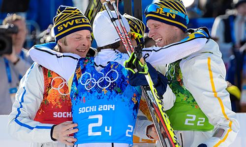 ett OS till Sverige skulle ge inspiration och framtidsoptimism - Guldglädje efter OS-vinsten i Sotji 2014. Foto: Bildbyrån.