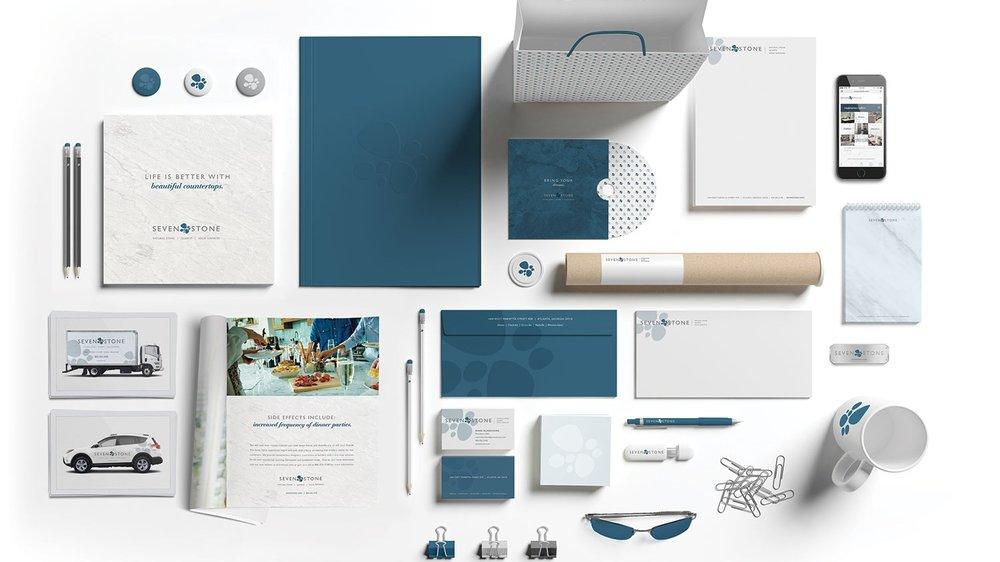SEVEN STONE  SEAMLESS DESIGN FOR A SEAMLESS DESIGN BRAND  Branding + Design + Website + Print