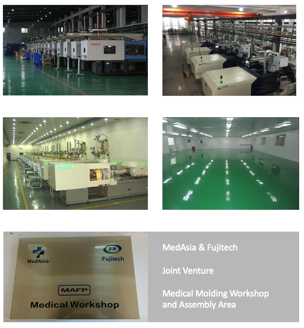 Injection Molding - Medical - 25,000 M2 building area70 office staff, 230 workersInjection molding machines: 60 units (60T-650T)8 White Room MachinesUltrasonic Welding: 5 unitsPad Printing: 6 unitsStamping: 2 units1,000m2 Assembly Clean Room