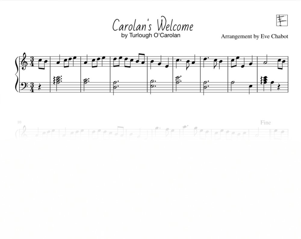 - Pages: 1Composer: Traditionnel / Traditionnal by Turlough O'CarolanArranger: Eve ChabotLevel: Débutant / BeginnerHarpe: Celtic, Pedal, Lap harp