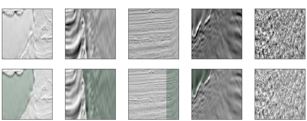 Seismic images. The salt regions are in green