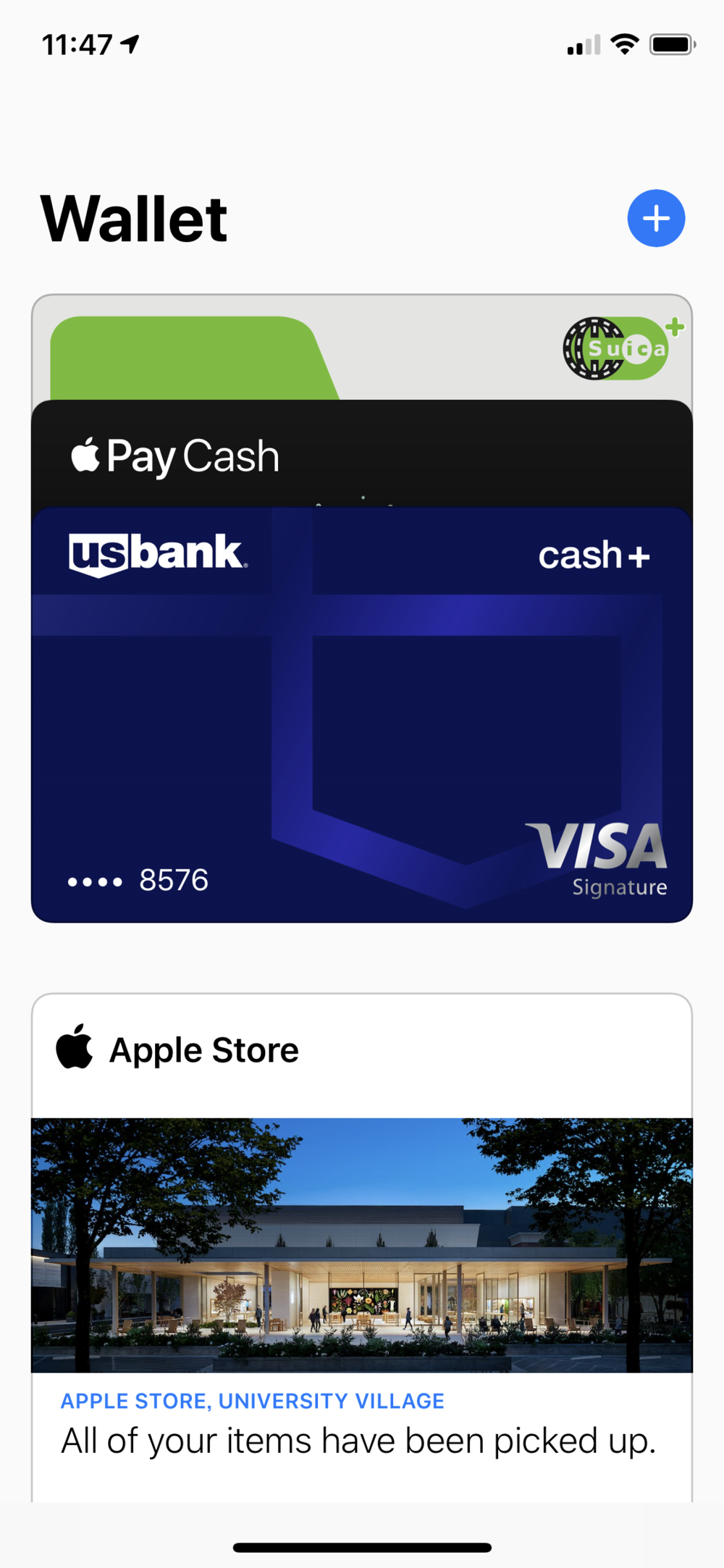 iOS Wallet features a top vs bottom separation of card types