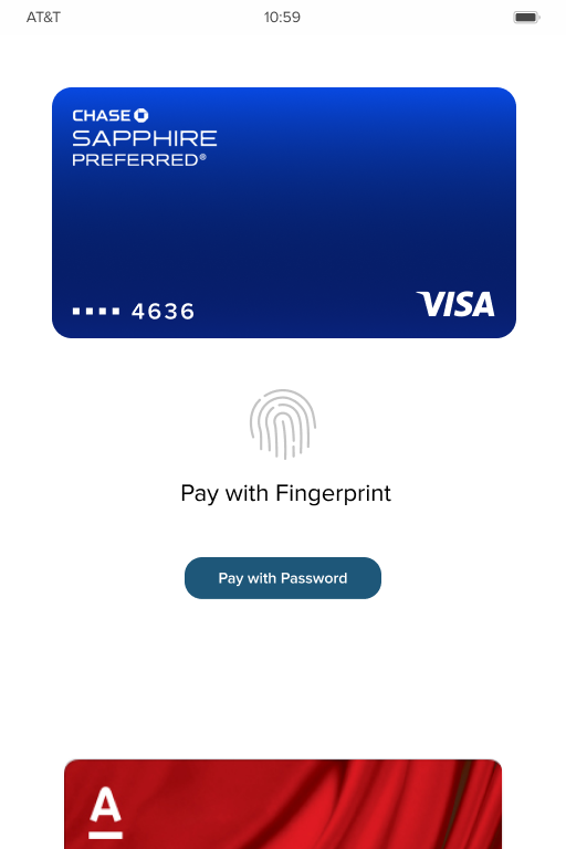 Payment Page w/ Secondary Card on Bottom