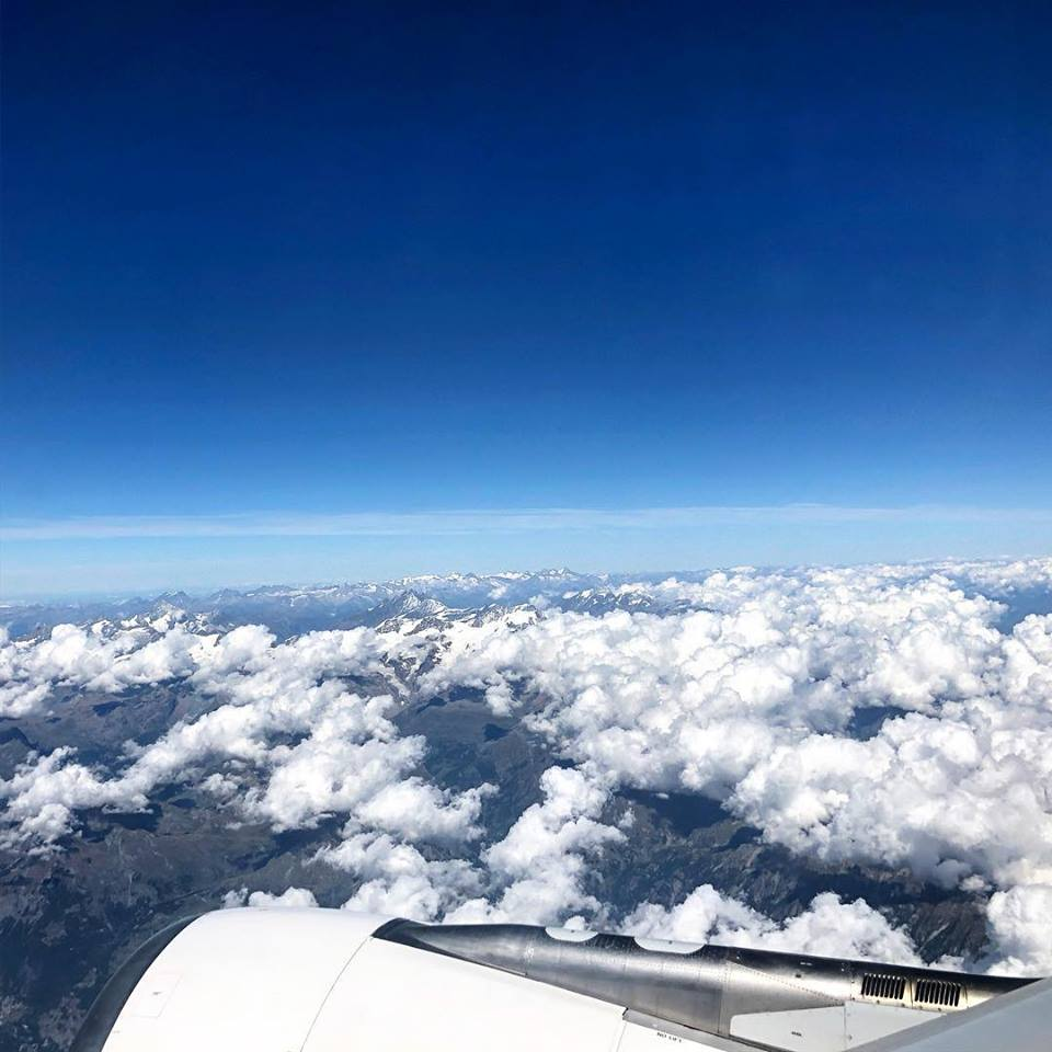View of the Alps from the window on our way to Florence (2018)