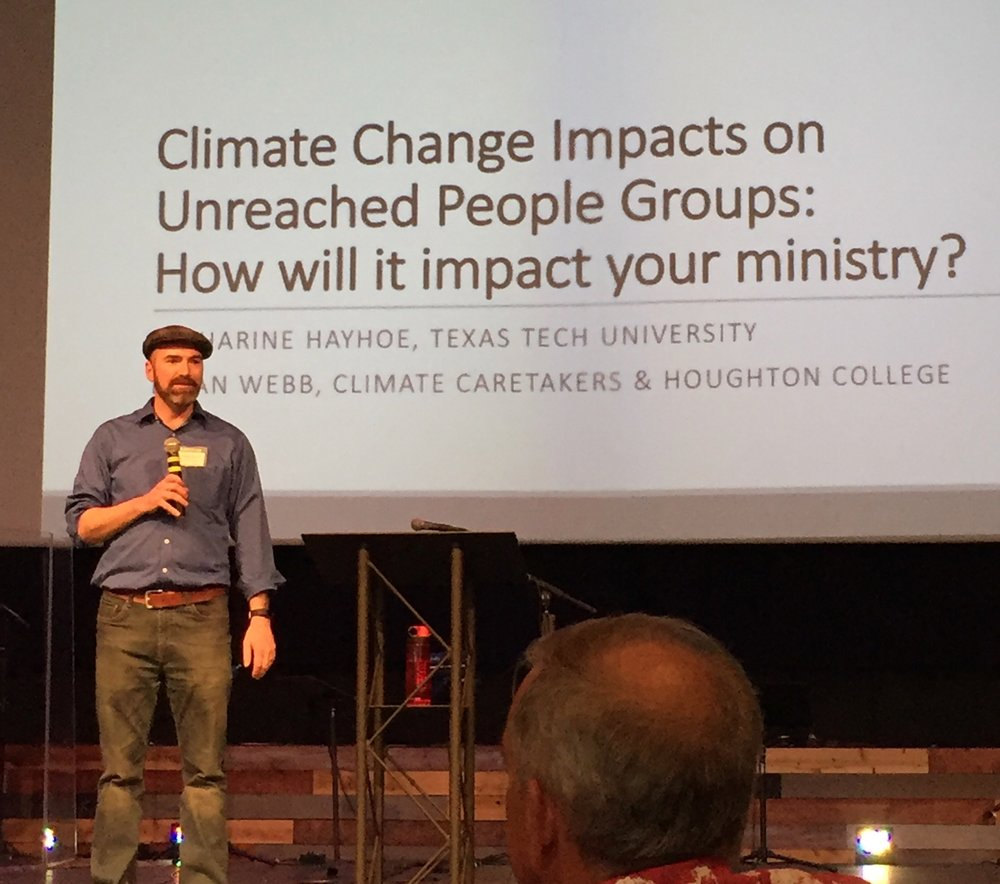 climate and Missions - In 2018 we co-presented a workshop with Dr. Katharine Hayhoe at the Creation Care at the Frontiers of Mission conference, addressing the intersection between climate vulnerable countries and unreached people groups.